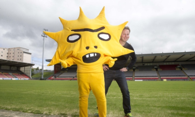 Artist David Shrigley and his creation, Partick Thistle mascot Kingsley, whose image is being used to support the KissBigotryGoodbye campaign