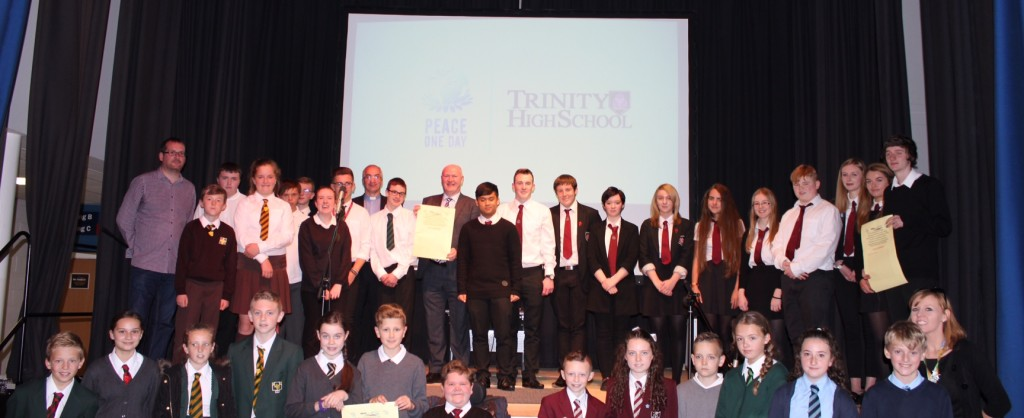 Dave Scott joins pupils and guests at Trinity High School