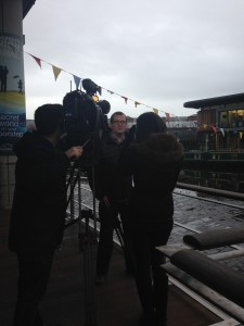Campaign Director Dave Scott prepares to make Nil by Mouth's case for Strict Liability on the STV News at Six